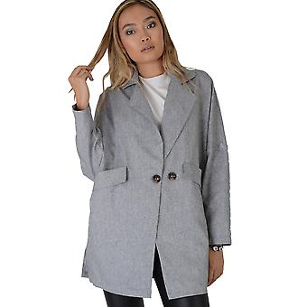 Lovemystyle Grey Over Sized Lightweight Jacket With Large Buttons