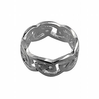 18 قيراط الذهب الأبيض 8 مم سلتيك خاتم الزواج حجم Q