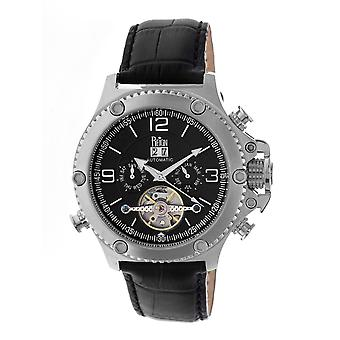 Reign Goliath Automatic Leather-Band Watch - Silver/Black