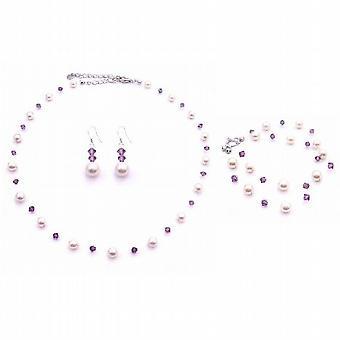 PROM-Amethyst Swarovski-Kristallen mit Elfenbein Perlen Schmuck Set