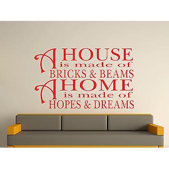 Une maison est faite de briques et de poutres v2 Wall Art autocollants - Rouge Tomate