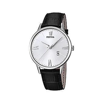 フェスティナ F16824/1 メンズ クオーツ時計、ホワイト ダイヤル黒革ストラップ アナログ ディスプレイ