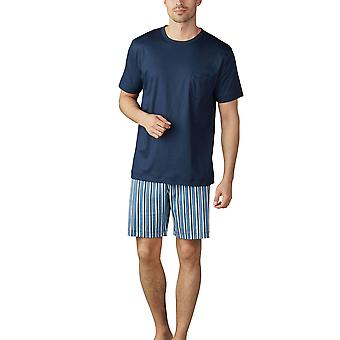 Mey Men 18770-668 Men's Breiter Streifen Yacht Blue Striped Pyjama Set