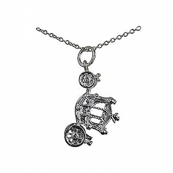 Silver 15x22mm Coronation Coach Pendant with a rolo Chain 24 inches