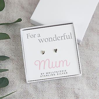 For A Wonderful Mum Heart Sterling Silver Earrings