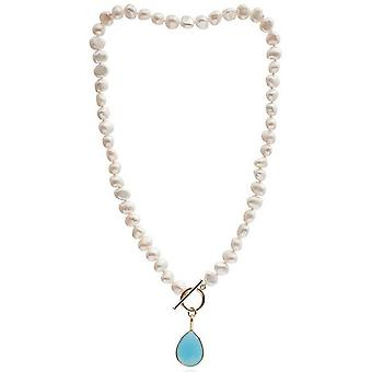 Pearls of the Orient Irregular Freshwater Pearl Cerulean Chalcedony Drop Necklace - Blue/White