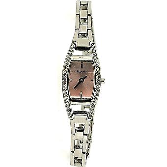 Accurist Ladies Analogue Pink Dial Silver Tone Crystal Bracelet Watch LB1028P