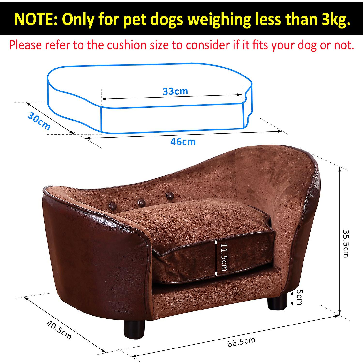PawHut Pet Sofa Dog Bed Home Indoor Couch House w/ Cushion Coffee (Small)