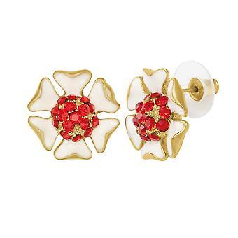 Éternelle Collection délicieux émail blanc et rouge cristal doré Stud boucles d'oreilles