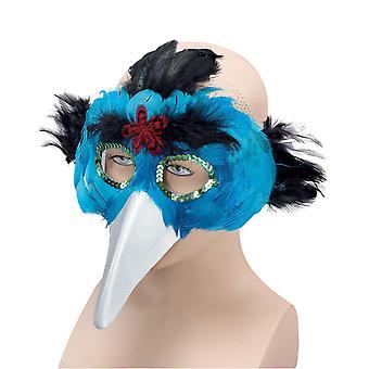 布里斯托尔新奇绿松石鸟羽毛面具