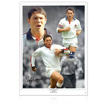 Rory Underwood unterzeichnete England Rugby-Montage