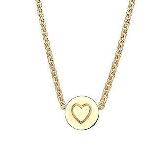 Elli-kvinners anheng halskjede-sølv 925-runde anheng med hjerte-0103691215_45-sølv-farge: gull-kode 0103691215_45