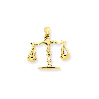 14k Yellow Gold Solid Polished 3 D Moveable Scales of Justice Pendant Necklace Measures 20x20mm Jewelry Gifts for Women