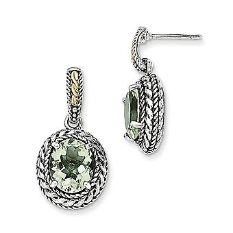 925 Sterling Silver With 14k Antiqued Green Quartz Post Dangle Earrings Jewelry Gifts for Women