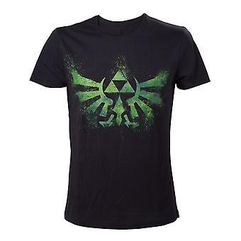 Mäns The Legend of Zelda Tri-Force logo svart och grön T-shirt