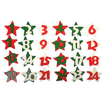 Wooden Star Advent Calendar Numbers - Christmas Colours