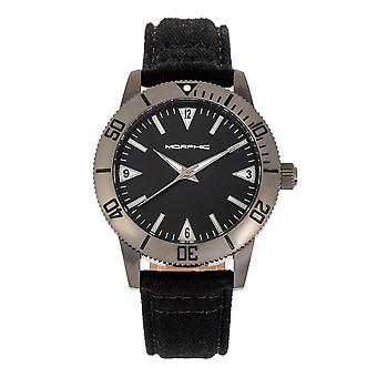 Morphic M85 Series Canvas-Overlaid Leather-Band Watch - Gunmetal/Black