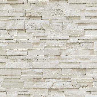 3D-effekt tegel tapet beige sten kakel rustik vinyl pasta Wall Erismann