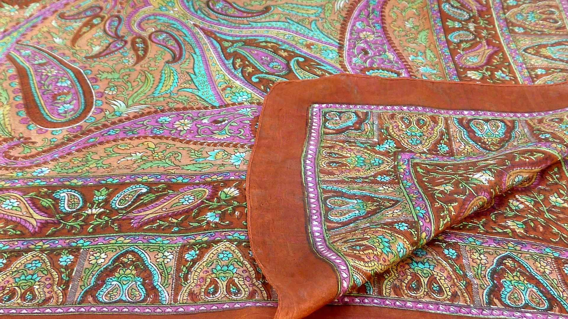 Mulberry Silk Traditional Square Scarf Zoi Terracotta by Pashmina & Silk