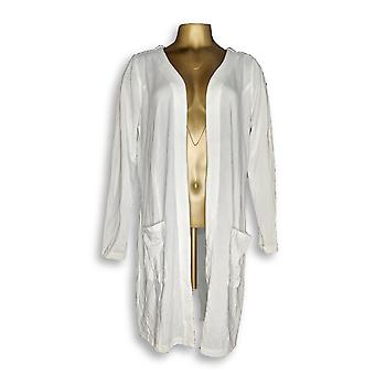 Belle by Kim Gravel Women's Sweater Long Cardigan Ivory A297596