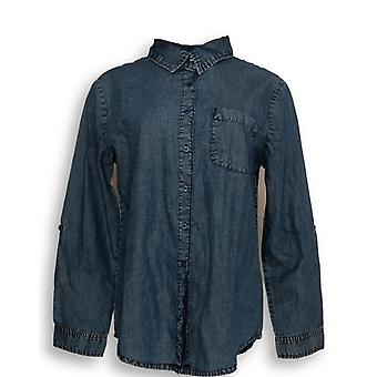 North Style Women's Top Buttoned Down Shirt Dark Blue