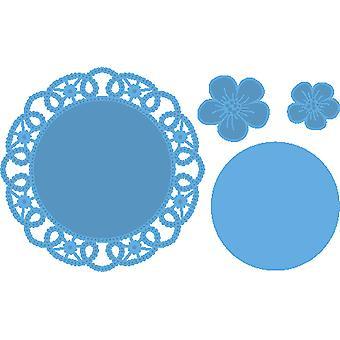 Marianne Design laget av blomst Doily dø, metall, blå, sett med 4