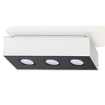 Sollux MONO 3 Light Flush Ceiling Light White & Black SL.0068