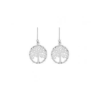 Eternity Sterling Silver Ladies Diamond Cut Tree Of Life Drop Earrings
