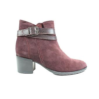 Tamaris 25059 Bordeaux Suede Leather Womens Heeled Ankle Boots
