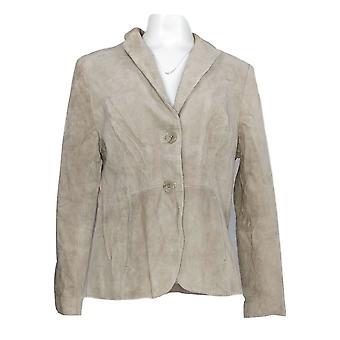 Isaac Mizrahi Live! Mujeres's Blazer Ante con Gingham Interior Beige A272711