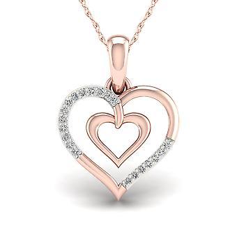 Igi gecertificeerd echte 10k roségoud 0.05ct tdw diamant hart vorm hanger
