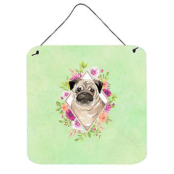 Fawn Pug Green Flowers Wall or Door Hanging Prints