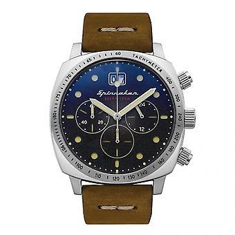 Montre Spinnaker SP-5068-01 - HULL chronographe avec date Boitier rond en acier inoxydable Cadran noir Bracelet marron en cuir Homme