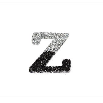 Black and Silver Double Glitter Alphabet Sticker - Z