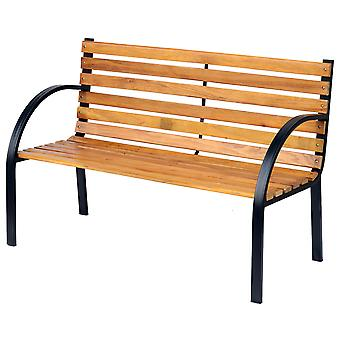 Outsunny Wooden Garden Bench Park Chair 2 Seater Love Chair Outdoor Patio Porch Furniture w/ Sturdy Metal Frame