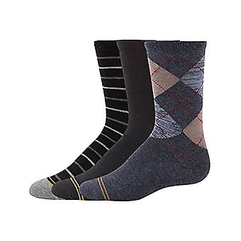Gold Toe Boys' Little Argyle Fashion Dress Crew, 3-Pair, heather dark grey/bl...