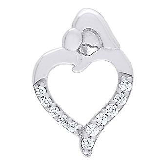 925 Sterling Silver CZ Cubic Zirconia Simulated Diamond Mother Child Love Heart 1.17gm Womens Charm Pendant Necklace