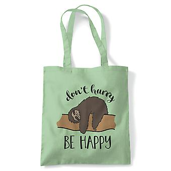 Sloth Be Happy, Tote - Reusable Shopping Canvas Bag Gift