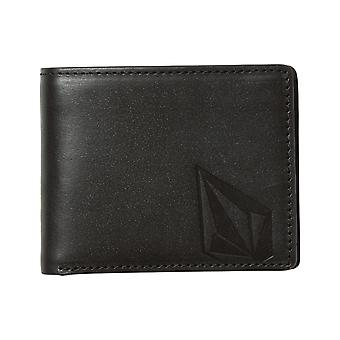 Volcom Straight Leather Wallet in Black
