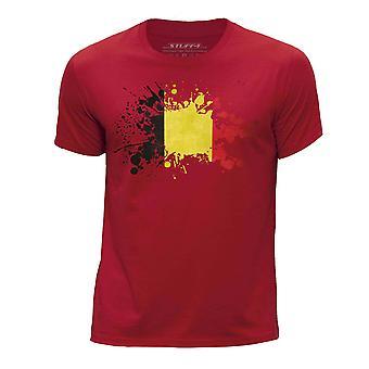 STUFF4 Boy's Round Neck T-Shirt/Belgium Flag Splat/Red
