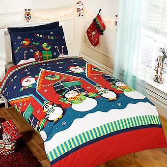 圣诞老人石窟圣诞羽绒被套装