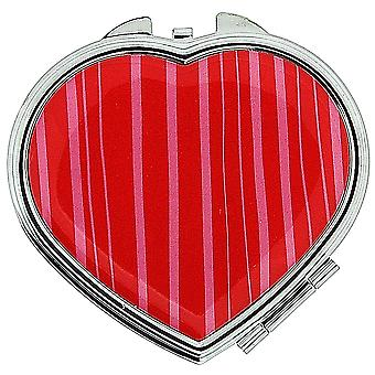 FMG Silvertone Metal Heart Shaped Compact Mirror With Red & Pink Stripes On Cover SC605