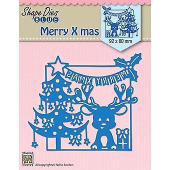 Nellie's Choice Shape Die Merry Christmas scene SDB065 92x80mm