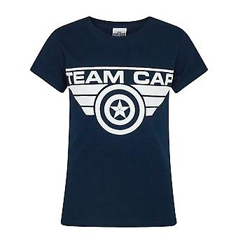 Captain America Civil War Team Cap Blue Short Sleeve Girl's T-Shirt