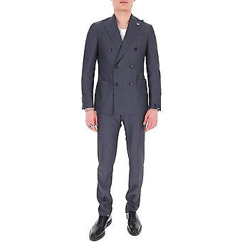 Lardini Ei416aeeic54401105 Men's Blue Cotton Suit