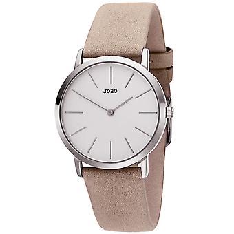 JOBO reloj de pulsera de mujer cuarzo analógico de acero inoxidable correa de cuero taupe