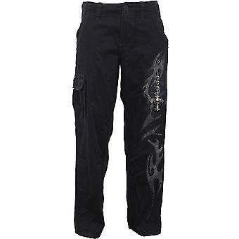 Spiral Direct Gothic TRIBAL CHAIN - Vintage Cargo Trousers Black Tribal Cross Skulls Fashion