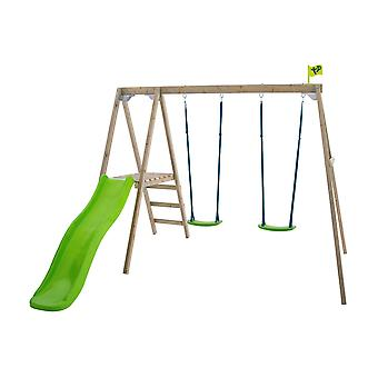 TP Toys Forest Multiplay Double Wooden Swing Set and Slide Green Garden Swing