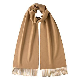 Johnstons of Elgin Plain Woven Cashmere Scarf - Camel Brown