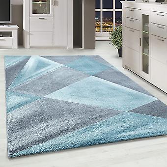 ShortFlor Designer Rug Abstract Patterned Home Rug Gris Blue White Mottled